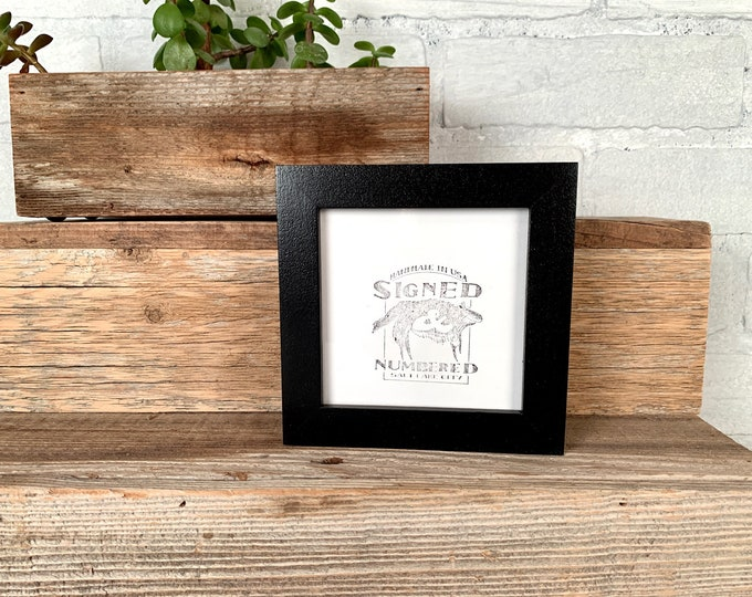 4x4 Square Photo Frame - SHIPS TODAY - Peewee Style with Solid Black Finish - In Stock - 4 x 4 Photo Frames Modern Gallery Black