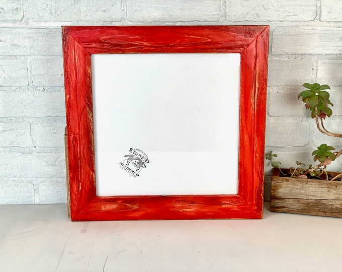 """12x12"""" Square Picture Frame - SHIPS TODAY - 2"""" Roughsawn Reclaimed Redwood with Super Vintage Red Dye Finish - In Stock - 12 x 12 inch Frame"""