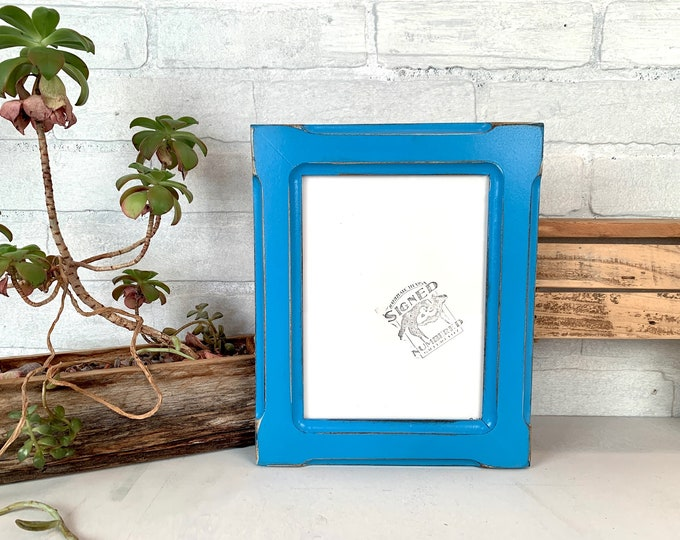 """6x8"""" Picture Frame - SHIPS TODAY - 1.5 Wide Bones Style with Vintage Cobalt Blue Finish - In Stock - 6 x 8 Picture Frames"""