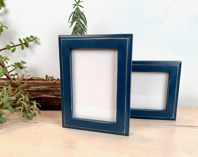 4x6 Picture Frame - BEST SELLER - 1x1 Outside Cove Style in Vintage Navy Blue Finish - In Stock - mid century decor 4 x 6 Photo Frame