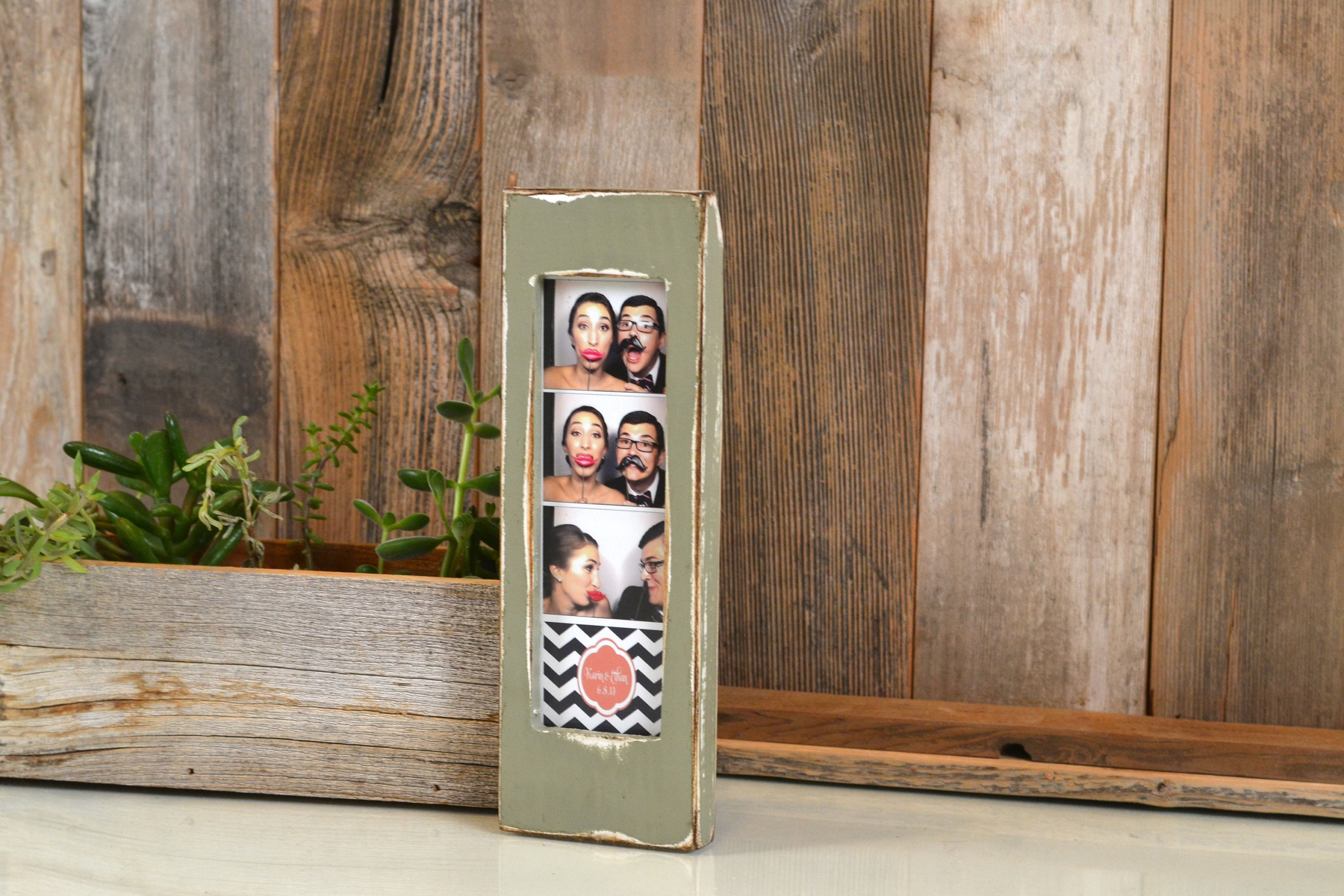 Aqua /& Lime Green Photo Booth Picture Frame Holds a 2 x 6 Photo Strip Distressed Edges