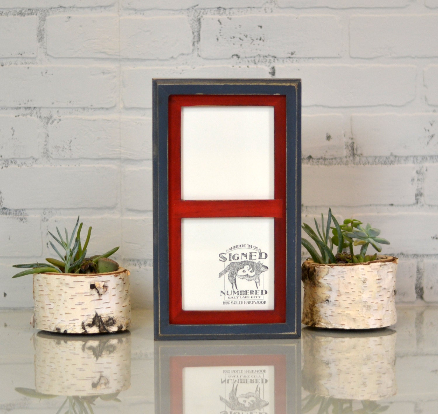 Diptych Frame For 2 5x5 Square Photos With Vintage Color