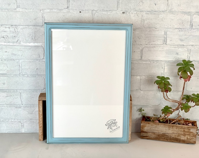 """11.75x18"""" Picture Frame in 1x1 Double Cove Style with Vintage Baby Blue Finish - In Stock - 11.75 x 18 inch Frame Powder Blue"""