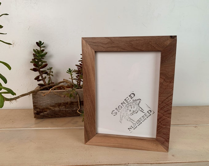 """5x7"""" Picture Frame - SHIPS TODAY - 1x1 Flat Style with Natural WALNUT Finish - In Stock - Gallery Frame 5 x 7 Solid Hardwood"""