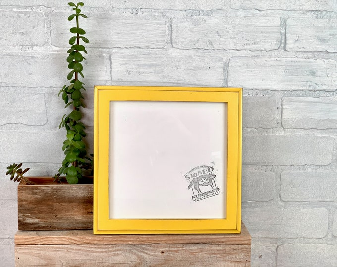 """8x8"""" Picture Frame - SHIPS TODAY - 1x1 Outside Cove Style with Vintage Yellow Finish - In Stock - 8 x 8 Square Photo Frame"""