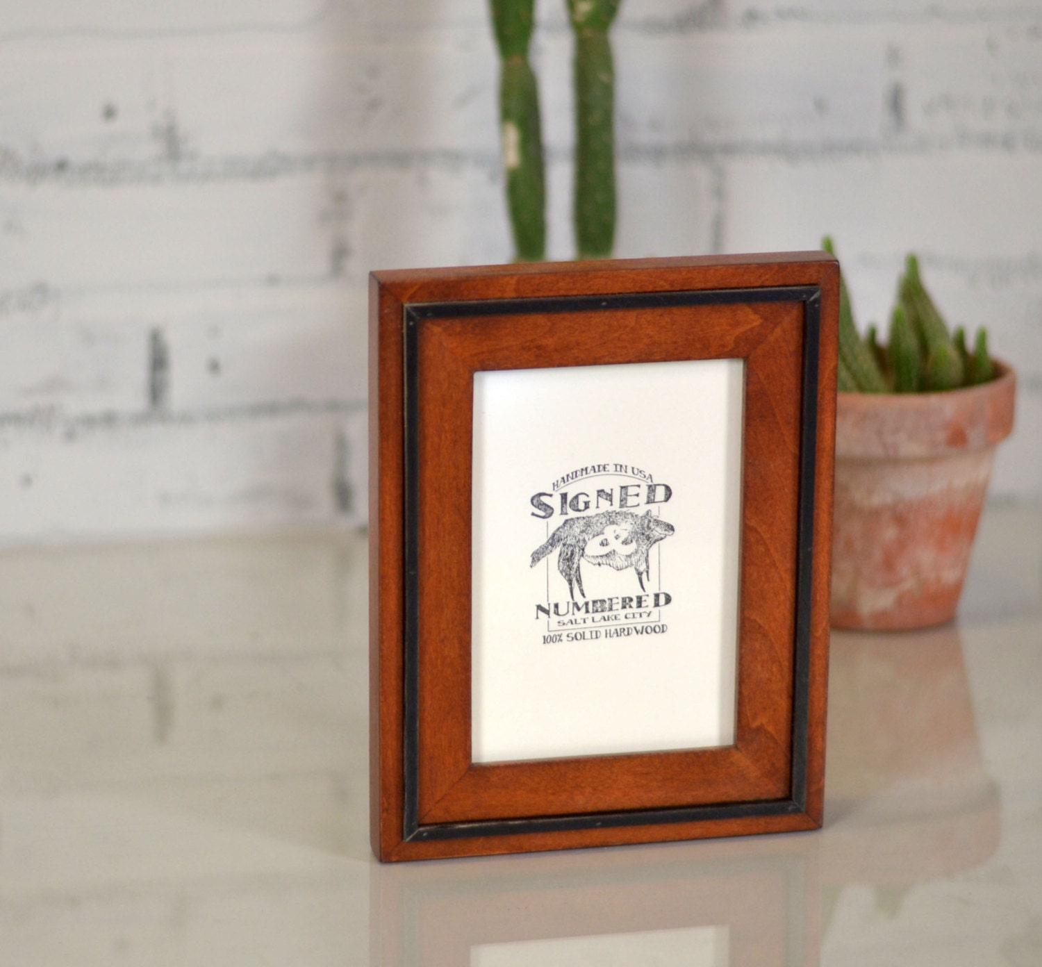 5x7 Picture Frame In Solid Wood Tone Finish With Solid Black