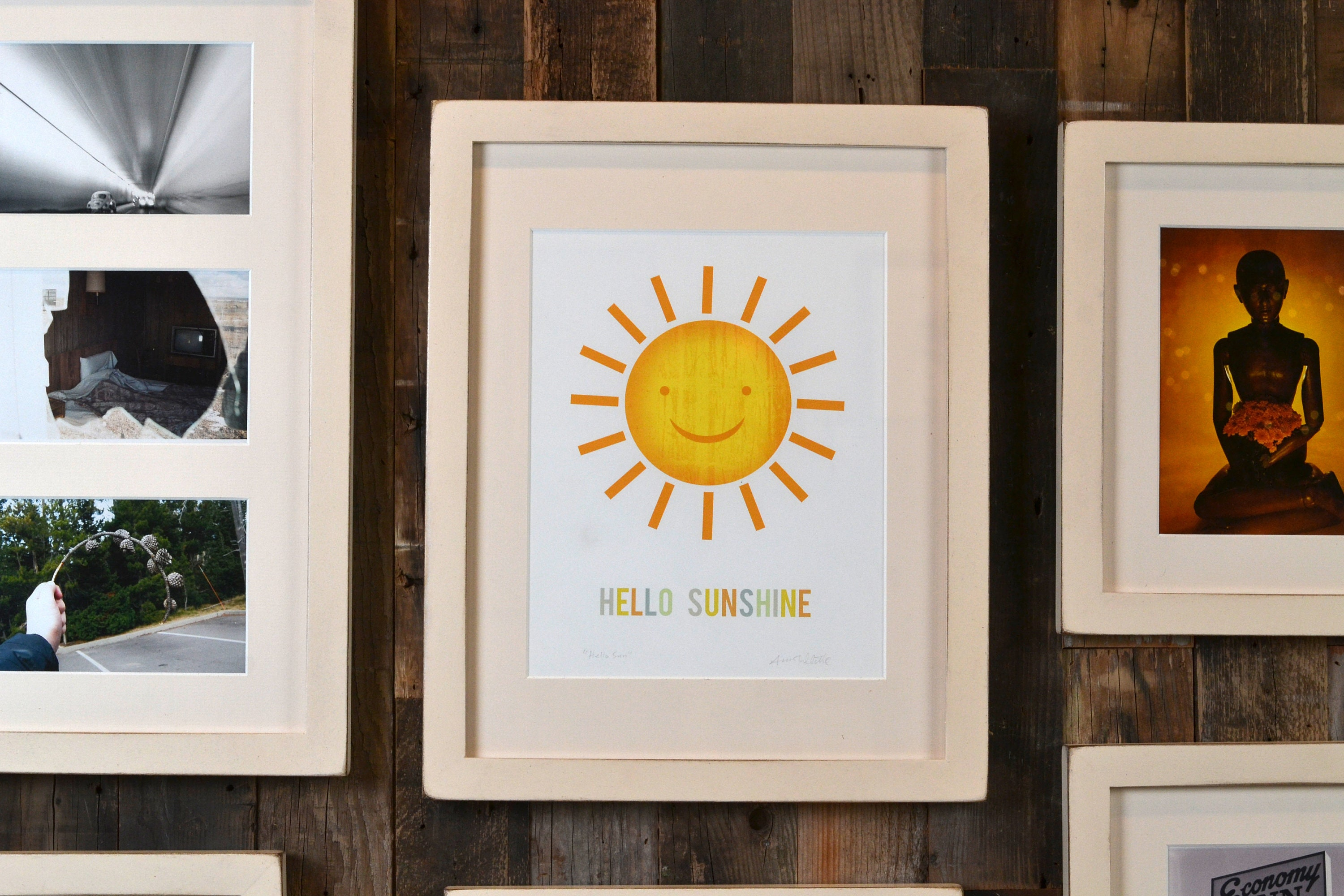 SET of SIX Gallery Style 1x1 Flat Frames in Frame and Mat Color of ...