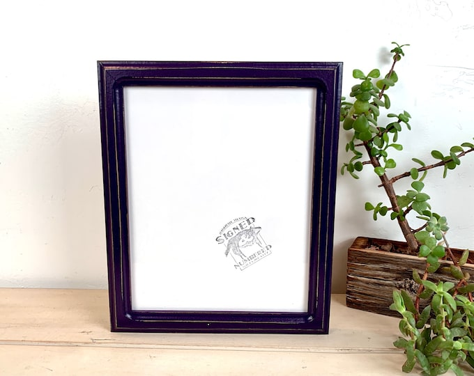 8x10 Picture Frame - SHIPS TODAY - 1x1 Double Cove Style with Vintage Deep Purple Finish - In Stock - Rustic Solid Wood Frame 8 x 10