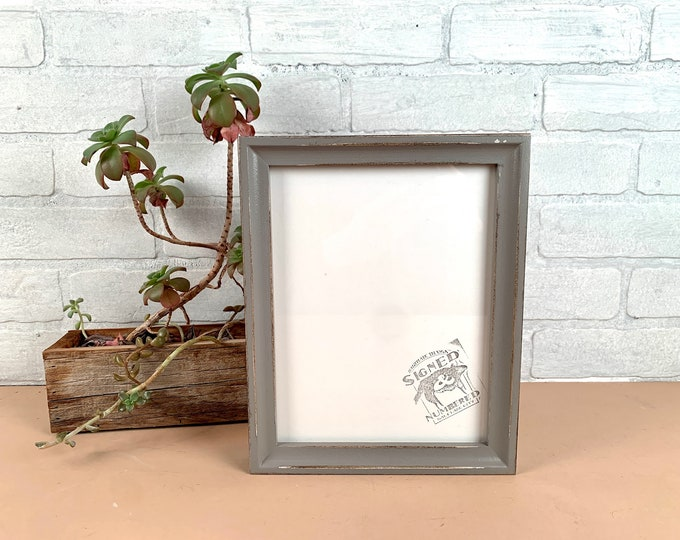 7x9 Picture Frame - SHIPS TODAY - Foxy Cove Style with Vintage Grey Finish - In Stock - 7 x 9 inch Photo Frame Gray