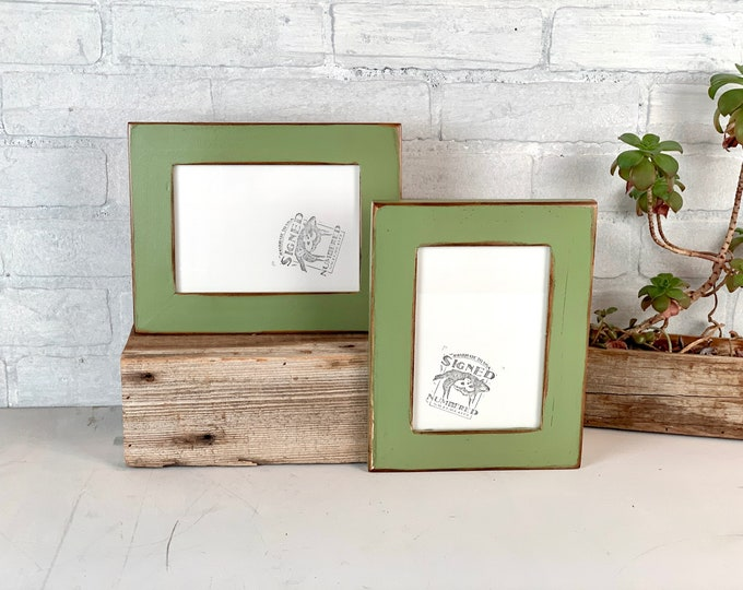 """5x7 Picture Frame - SHIPS TODAY - 1.5"""" Reclaimed Cedar Wood with Super Vintage Guacamole Green Finish - In Stock - Upcycled Wood Frame 5 x 7"""