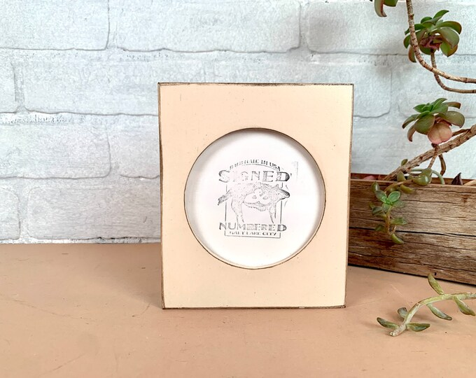 4x4 Pine Circle Opening Picture Frame with Vintage Ivory Finish - IN STOCK - Same Day Shipping - 4 x 4 inch Circle Round Picture Frame