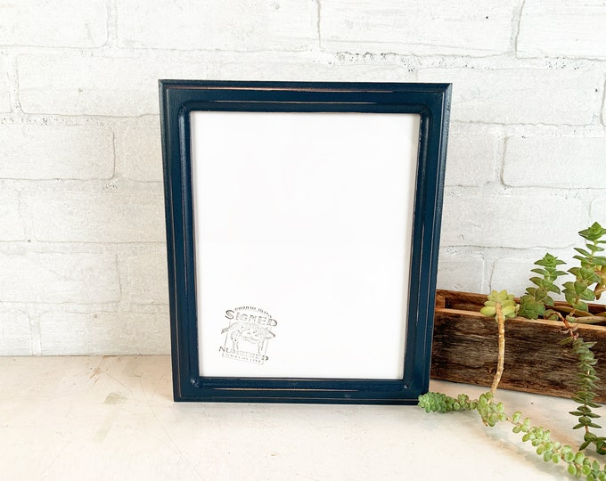 8x10 Picture Frame - SHIPS TODAY - 1x1 Double Cove Style with Vintage Navy Blue Finish - In Stock - Rustic Solid Wood Frame 8 x 10
