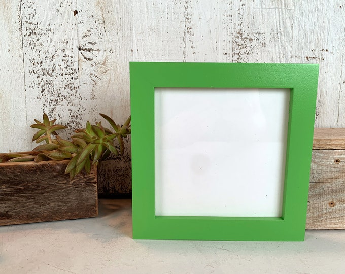 6x6 Picture Frame - SHIPS TODAY - Solid Green Pear Finish 1x1 Flat Style - In Stock - 6 x 6 Photo Frames on Sale