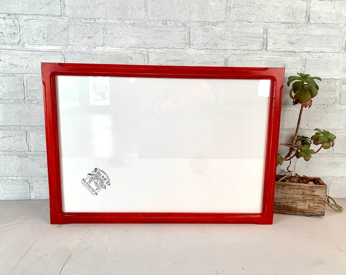 """12x18"""" Picture Frame - SHIPS TODAY - 1x1 Shallow Bones Style with Vintage Red Dye Finish - In Stock - 12 x 18 Frame Rustic Red"""