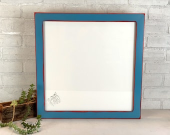 """17x17"""" Square Picture Frame - SHIPS TODAY - 1.5 Standard Style with Vintage Red under Blue Finish - In Stock - 17 x 17 Frame with Plexiglass"""