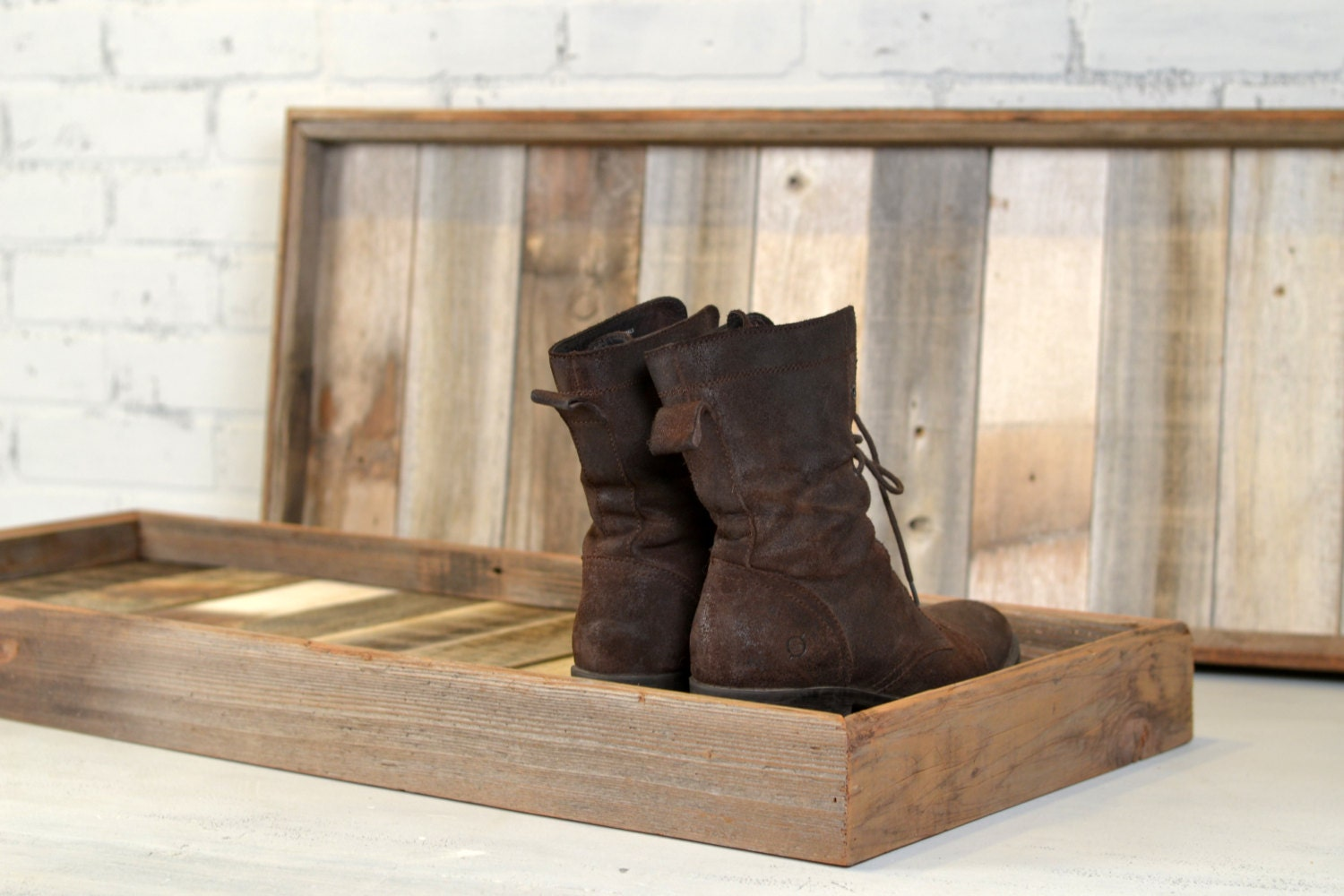 Picture of: Boot Tray Made From Reclaimed Wood Shoe Storage Entryway Organization 36 Inches Long By 15 Inches Wide In Stock Same Day Shipping