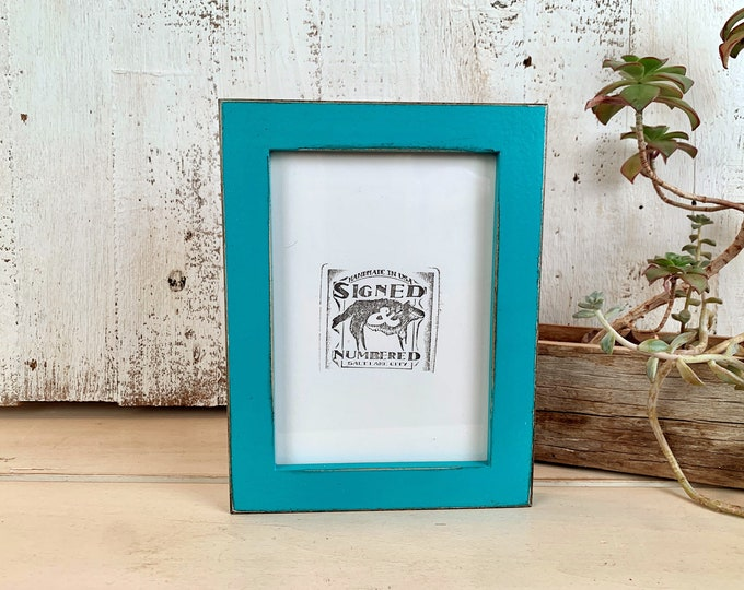 5x7 Picture Frame -SHIPS TODAY - 1x1 Flat Style with Vintage Turquoise Finish - In Stock - mid century decor 5 x 7 Photo Frame Blue Green