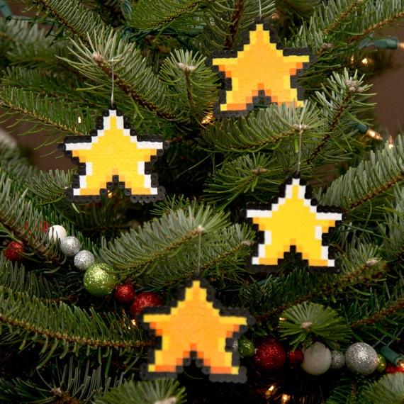 8 Bit Pixel Art Christmas Ornament Variety Pack von 4