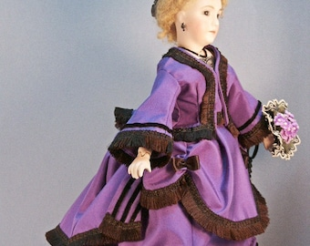 """French Fashion doll clothing pattern for ca 1870 DINNER DRESS - Skirt, Overskirt, and Bodice for 12"""" doll"""