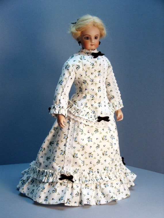 MORNING DRESS 1860s French Fashion doll clothing pattern for 12 inch dolls