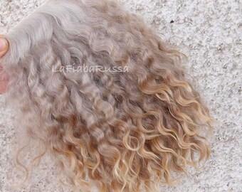 "3-3 1//2"" Light Golden Blonde English Mohair Doll Wig"