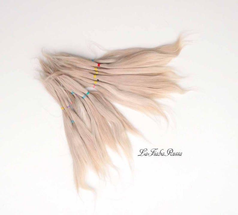 suri alpaca Doll hair beige blonde 7-8 in BJD Blythe  hair combed locks hair pretty msd bjd reborn reroot alpaca hair suri combed