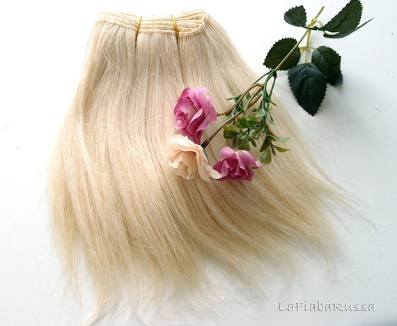 Doll Hair Wefted Mohair Straight Platinum Blonde Wig