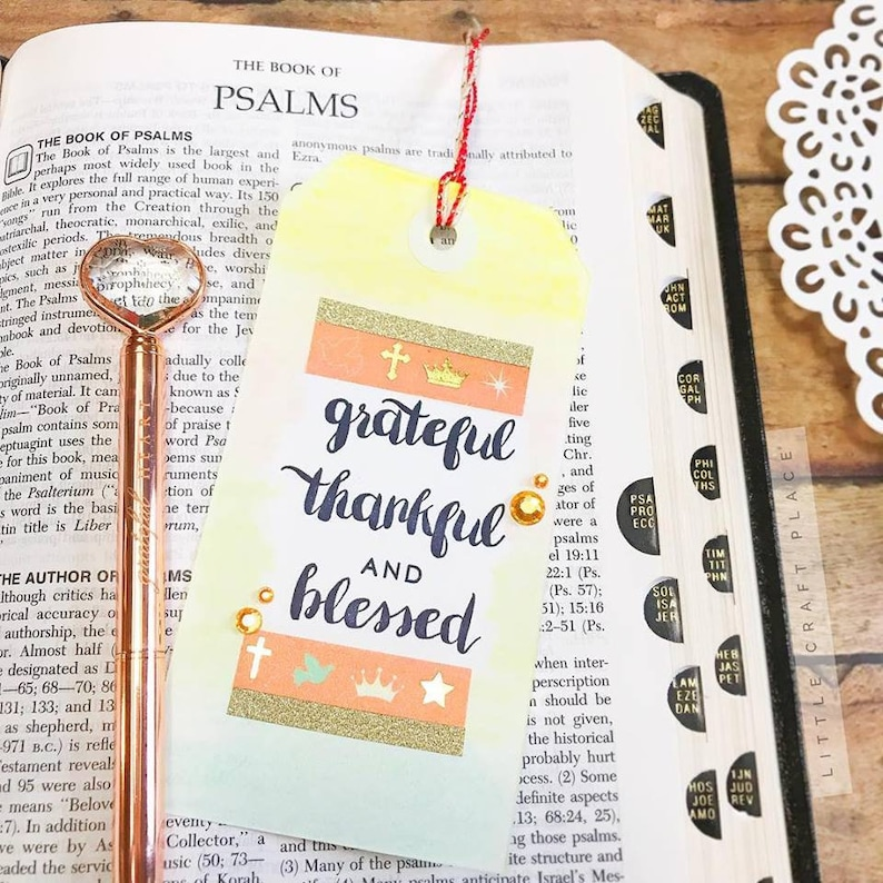 Grateful Thankful and Blessed Pre-Inked Stamp P623 image 0