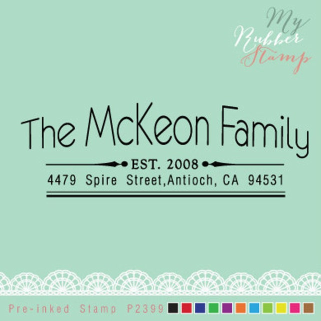 Address Stamp (Self Inking Stamp) Personalized Stamp for Family, Newlywed, Couple, Wedding Stamp, Business Stamp (P2399)