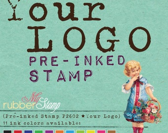 LOGO Stamp (Custom Self Inking Stamp • Pre-inked Stamp) Logo or Design file provided by you (P2602)