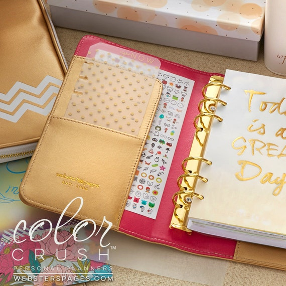 69652927303 Gold PERSONAL Planner Kit 2019 Webster s Pages Color Crush