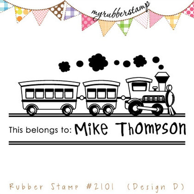 Choo-Choo Train (Pre-inked Stamp) Teacher Stamp, Personalized Children Stamp, Book Stamp, This Belongs To, Compliments, Children (P2101)