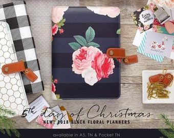 Black Floral A5 Planner Kit Webster's Pages Color Crush • Free Washi Tape (A5PK001-BF)