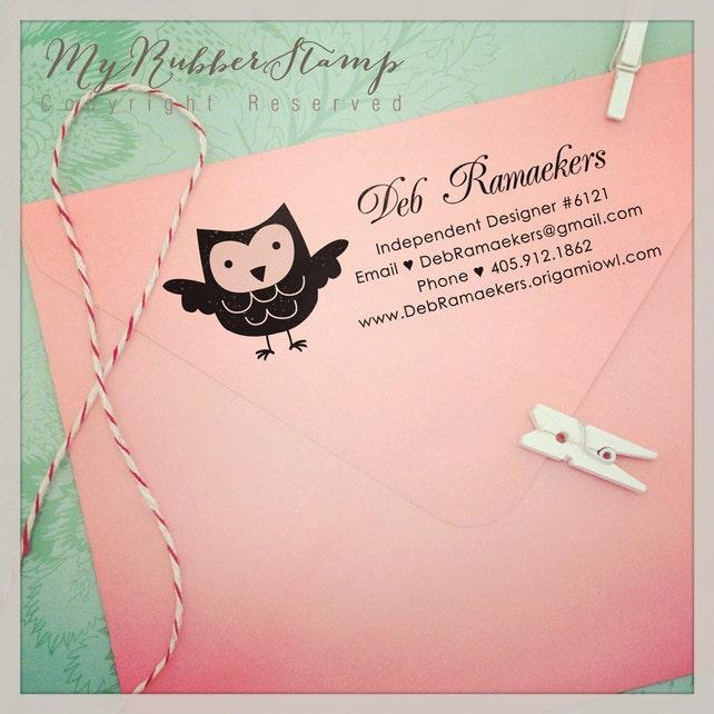 Owl Pre-inked Stamp. Return Address Stamp / Calligraphy Script / Business Stamp / Handmade by Stamp (P2405)