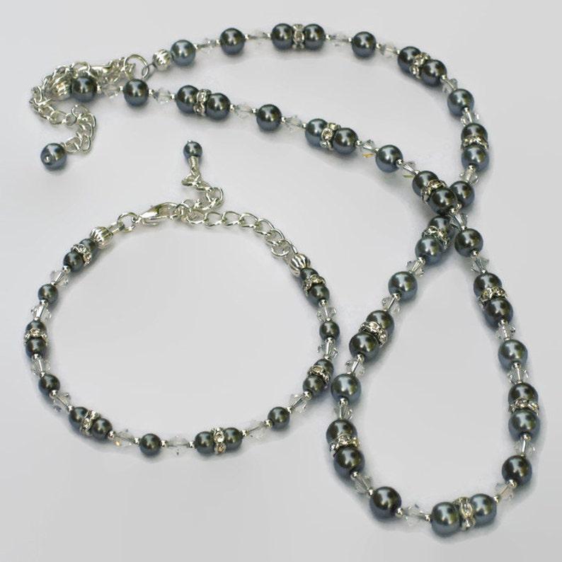 96592f40cd82 Pulsera cristal de Swarovski perla gris plata, regalos para mujeres menores  de 50 años, joyería de la boda, de Dama de honor, Black Friday, Cyber el ...
