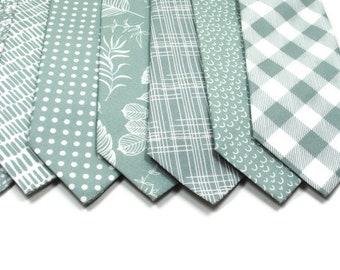 Dusty Sage Neckties Dusty Sage Ties Sage Neckties Eucalyptus Neckties Sage Ties Cotton Ties Wedding Ties Sage Linen Ties Davids Bridal Ties