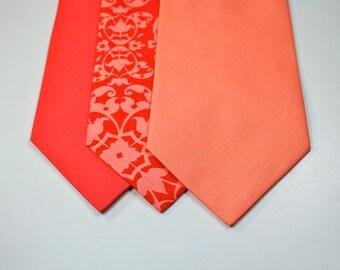 Peach Neckties Coral Neckties Mens Neckties