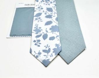 Dusty Blue Neckties Dusty Blue Floral Neckties Neckties  Ties Dusty Blue Linen Neckties Wedding Neckties  Dusty Blue Ties
