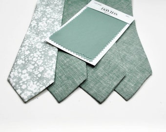 Dusty Sage Neckties Sage Neckties Groomsmen Sage Floral Ties Dusty Sage Neckties Wedding Neckties Dusty Sage Floral Neckties