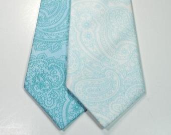 Paisley Neckties Custom Neckties Wedding Neckties Aqua Paisley Neckties Cotton Neckties Aqua Neckties