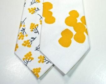 Mustard Neckties Mustard and Gray Neckties Mens Neckties Custom Neckties Mustard Cotton Neckties