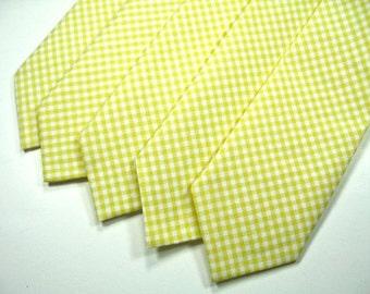 Yellow Gingham Neckties. Mens Neckties, Yellow Neckties, Wedding Neckties, Neckties