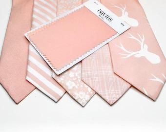Bellini Neckties Light Peach Necktie Davids Bridal Bellini Peach Floral Necktie Wedding Neckties Peach Neckties Peach Linen Neckties