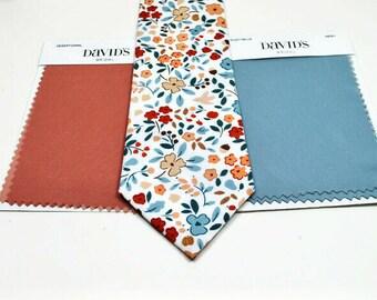 Dusty Blue Neckties Desert Coral Floral Neckties Neckties Dusty Blue Floral Neckties Wedding Neckties Desert Coral Neckties Dusty Blue Ties