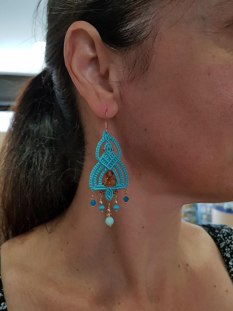 25 photos macram\u00e8 tutorial step by step Giza earrings