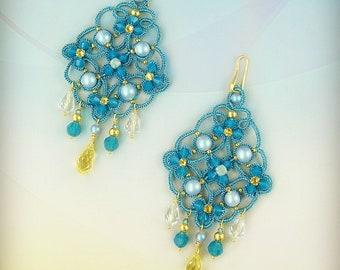 Olympea earrings, needle tatting kit and tutorial step by step