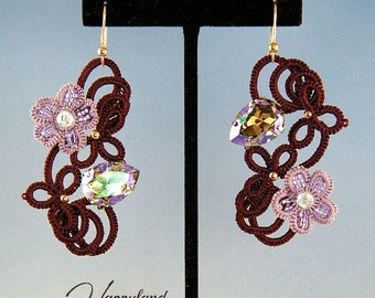 Leilani earrings , needle tatting kit and tutorial step by step