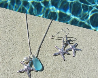STARFISH EARRINGS and NECKLACE jewelry set,  Starfish Earrings, Starfish Jewelry, Bridesmaid Beach Jewelry Necklace Set, Bridesmaid Jewelry
