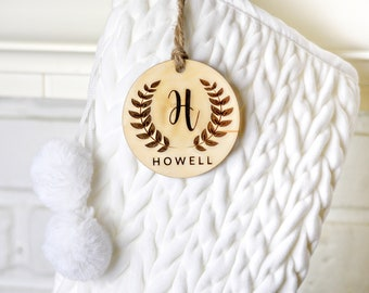 Personalized Name Ornament   Monogram Christmas Ornament   Stocking Tag   Custom Christmas Ornament   Personalized Gift