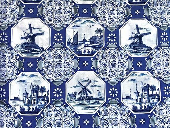Delft Blue cotton fabric - Dutch print Castles and Windmills - Fat Quarter